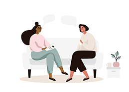 Illustration of two black women sitting on a couch facing each other with a small distance between them. They are both smiling and wearing casual clothes. The girl on the left has long black hair and the girl on the right has short black hair.